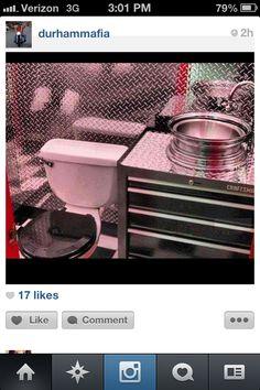 A mancave bathroom with wheel sink!