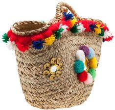 Coffa Siciliana.  #coffasiciliana coffa, borsa in palma nana decorata con nappine e pom pom colorati  #handmade #diy #idee #fattoamano #sicilia #specchietti
