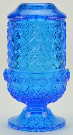 "Blue glassware | Blue Art Glass Fairy Lamp Tea Light Holder -Pressed Glass - 6"" Tall"