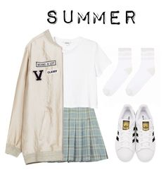 """Yugyeom's ideal type (summer)"" by got7outfits ❤ liked on Polyvore featuring Chicnova Fashion, Monki and adidas Originals"