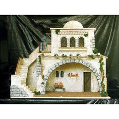 casas del belen - Buscar con Google Miniature Dollhouse Furniture, Dollhouse Miniatures, Diorama, Fontanini Nativity, Christmas Manger, Ceramic Houses, Fortification, Small World, Little Houses