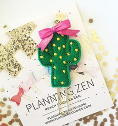 Cute Cactus with Bow Felt Planner Clip | Paperclip Page Marker | Textbook Cookbook Bible Bookmark