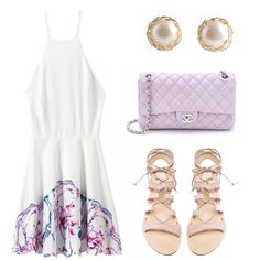 White Spaghetti Strap Floral Backless Dress