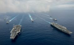 """US Navy, especially the Seventh Fleet a """"hazard"""" in the Pacific - The Nimitz-class aircraft carriers USS John C. Stennis (CVN and USS Ronald Reagan (CVN (R) conduct dual aircraft carrier strike group operations © Jake Greenberg / Reuters  The yea. Poder Naval, Philippines, Uss Ronald Reagan, Uss America, Carrier Strike Group, Uss Nimitz, Navy Chief, Us Military, United States Navy"""