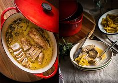 Potato carbonara, mackerel and tarragon - Healthy Food Mom Potato Recipes, Gourmet Recipes, Snack Recipes, Healthy Recipes, Cocotte Le Creuset, Cocotte Recipe, Seasoned Potatoes, Carne Asada, Pot Roast