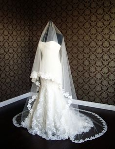Cathedral Alencon French Lace Drop Veil with by IheartBride, $739.00
