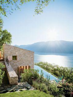 Stefan Höglmaier: House on Lake Garda - on AD - DeeSign & Architecture - Architektur Beautiful Homes, Beautiful Places, Beautiful Pictures, Lake Garda, Stone Houses, Exterior Design, Architecture Design, Villa, House Design