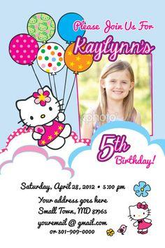 uprint Hello Kitty Printable Birthday Party Invitation Photo Print 1st Baby Shower | eBay