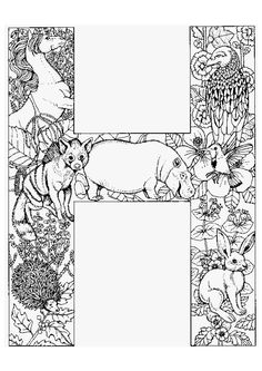 Coloriage alphabet animal h sur Hugolescargot.com - Hugolescargot.com