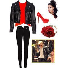 Teen Beach Movie- BIKER I love when girls dress in leather jackets, bright red kicks, and tight leather pants. Biker Girl Costume, Greaser Costume, Greaser Outfit, Biker Chick Outfit, Greaser Girl, Greaser Style, Teen Beach Movie Costumes, Modest Halloween Costumes, Halloween Outfits