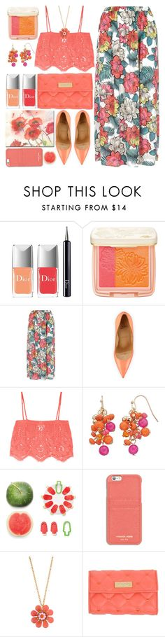 """""""Floral Maxi Skirt"""" by grozdana-v ❤ liked on Polyvore featuring Christian Dior, Paul & Joe Beaute, Christian Louboutin, Miguelina, Luckies, MICHAEL Michael Kors, Kate Spade, Blugirl and Trademark Fine Art"""