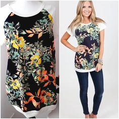 1 hr. SALE Floral Print Top LAST ONE! New with tags neon and black floral print top. The floral print is on the front and the back and sleeves are soft cream colored cotton. Runs large. Tops Tees - Short Sleeve