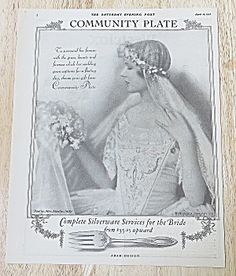 1927 Community Plate With Lovely Bride