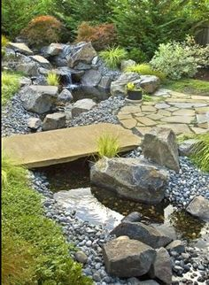 Asian Landscape Design, Pictures, Remodel, Decor and Ideas - page 29 Backyard Stream, Garden Stream, Backyard Water Feature, Ponds Backyard, Water Garden, Garden Pond, Rain Garden, Stream Bed, Pond Landscaping