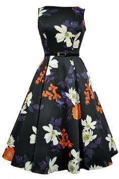 Japanese Floral on Black Hepburn Dress : Lady Vintage