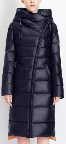 Hooded Thick Puffer Down Coat in Dark Blue