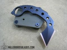 Custom small karambit with double edge blade. Miller Bros. Blades handmade knives, swords & tomahawks