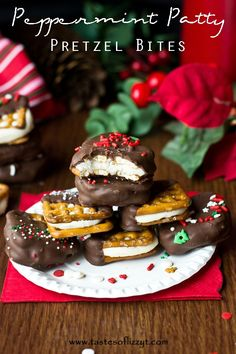 Peppermint Patty Pretzel Bites {Tastes of Lizzy T}  Fill your Christmas cookie tray with these cute little peppermint patty pretzel sandwiches! http://www.tastesoflizzyt.com/2013/12/16/peppermint-patty-pretzel-bites/