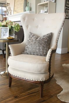stylist picks | alice lane home collection | linen tufted armchair, cowhide