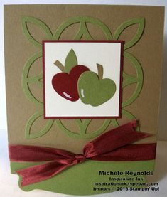 Handmade card with punch art apples using Hearts a Flutter Framelits and Petite Curly Label Punch.