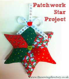 Easy patchwork star project for your Christmas Tree!How to make a hanging fabric star decorationA quilted star project with pattern- would be great with fabric of a loved one to make a keepsake.Learn to sew easy tutorials for beginnersEnglish paper p Fabric Christmas Decorations, Quilted Christmas Ornaments, Fabric Ornaments, 3d Christmas, Handmade Christmas, Simple Christmas, Christmas Vacation, Christmas Ideas, Christmas Sewing Patterns