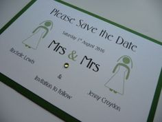 Mrs & Mrs themed Save the Date idea with a green colour scheme - any colour scheme available