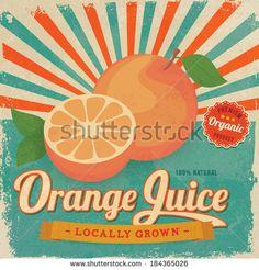 Colorful vintage Orange Juice label poster vector illustration - stock vector