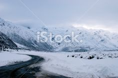 Snowy Roadscape, New Zealand Aoraki National Park Royalty Free Stock Photo Weather In New Zealand, New Zealand Landscape, Four Seasons, Wilderness, Royalty Free Stock Photos, National Parks, Scenery, Landscapes, Cook