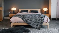 maple-pimlico-bed-with-monochrome-modern-blanket