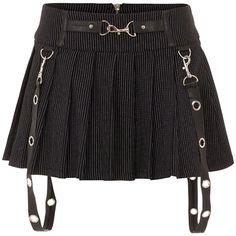 Jawbreaker Pinstripe Mini Skirt (Black) (110 BRL) ❤ liked on Polyvore featuring skirts, mini skirts, bottoms, black, short mini skirts, pinstripe mini skirt, pinstripe skirt, short skirts and mini skirt