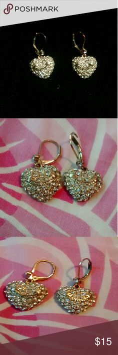 Juicy couture heart earrings -Heart shaped -New condition  -Diamond + gold drop earrings -Lots of sparkle -Juicy couture on the front.  -Perfect for any classy or preppy look  Tried to include many photos so good quality of item is visible. Feel free to leave any questions and I'll reply as soon as possible!  **Be sure to check out the rest of my closet for great deals! :) Juicy Couture Jewelry Earrings