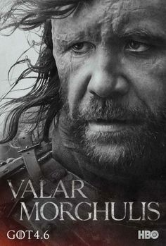 """HBO has released 20 new character poster for the upcoming season of 'Game of Thrones.' Each poster has the words """"Valar Morghulis,"""" the Valyrian phrase that means """"All men must die."""" 'Game of Thrones' season 4 premieres on April at 9 p. Rory Mccann, Valar Morghulis, Hound Game Of Thrones, Game Of Thrones Saison, Winter Is Here, Winter Is Coming, Arya Stark, Got Serie, Serie Tv"""