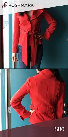 Red Zara jacket Red Zara jacket in great condition. Beautiful to wear out with an all black outfit. Goes great with jeans too. Zara Jackets & Coats