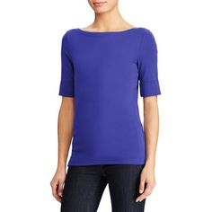 Lauren Ralph Lauren Women's Petite Ribbed Boatneck Tee ($35) ❤ liked on Polyvore featuring tops, t-shirts, blue, elbow length t shirts, boat neck t shirt, ribbed t shirt, elbow length tee and ribbed tee