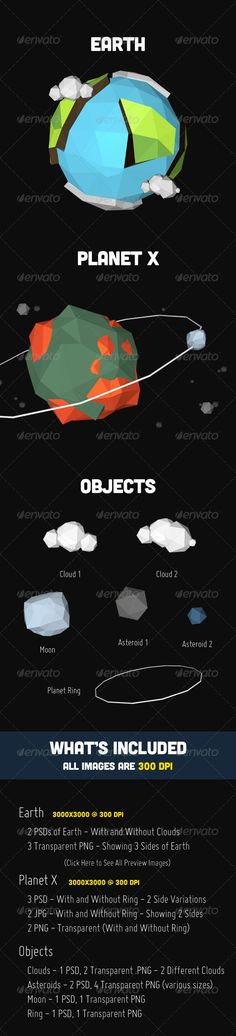 Low Poly Planets  #graphicriver