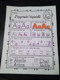 Voici une ressource que j'ai créée pour les élèves de maternelle (ou de 1ere et de 2e année immersion) afin qu'ils puissent pratiquer l'écriture de l'alphabet français. J'ai ajouté les « e » avec accent ainsi que le « ç ».