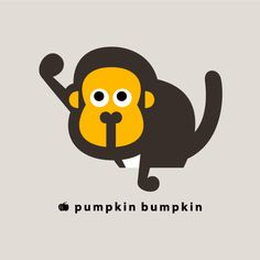 Monkey, pumpkin bumpkin #illustration #painting #drawing #art #design