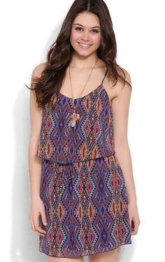 Deb Shops A-Line Dress with Tribal Print and Ruffle Bodice $26.25