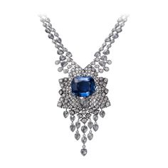 High Jewellery necklace Hyacintho necklace - platinum, one 32.14-carat cushion-shaped sapphire from Ceylon, one 2.33-carat D VVS1 pear-shaped rose-cut diamond, pear-shaped rose-cut diamonds, brilliant-cut diamonds.