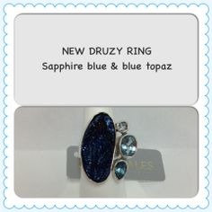 Druzy and Blue Topaz Sterling Silver Handmade Ring