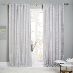 Flocked Woven Squares Curtain + Blackout Panel, Platinum, 48
