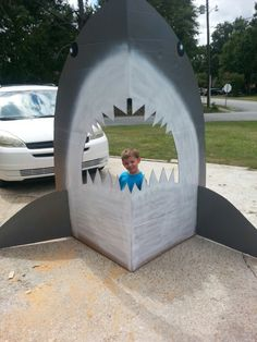 Jaws!!! Cardboard shark. Hubby is awesome!