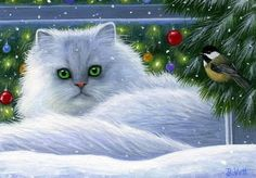Persian cat winter snow window Christmas lights limited edition aceo print art by Bridget Voth