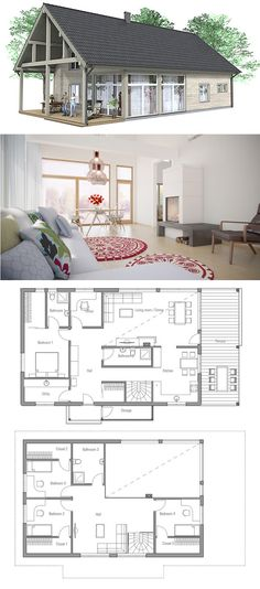 Modern farmhouse floor plan plan 888 1 for Plan de petite maison