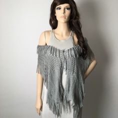 Beautiful Gray Crochet Fringe Shawl Scarf  Excellent condition. So pretty! Can doll up any outfit. You can tie two strings together and wear as a shaw over your arms.  Charlotte Russe Accessories Scarves & Wraps