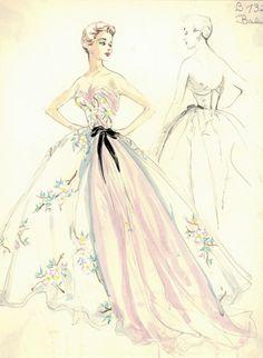 fashion illustration of the 50s