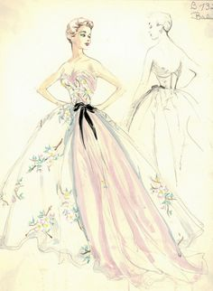 fashion illustration of the 50s