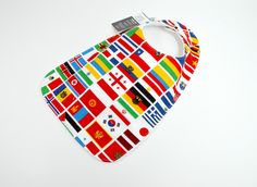"Toddler Bib 10""x 17"", 1yr-3+ yrs, Flags, united, countries, country, flag, colour, united nations, unisex, special needs bib, 100% cotton by TextileTrolley on Etsy"