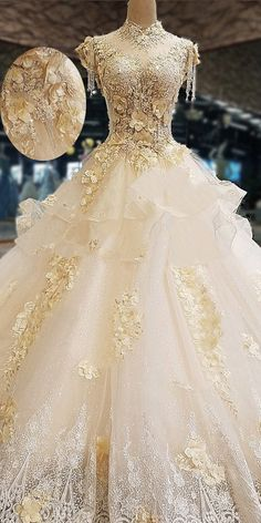 NEW! Amazing Tulle High Collar See-through Bodice Ball Gown Wedding Dress With Lace Appliques & Beadings & 3D Flowers