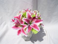 Carol's Bridal Bouquet Rubrium Tiger Lilies, Lime Feathers, Lime Dendrobuim Orchids, Cream Open Roses